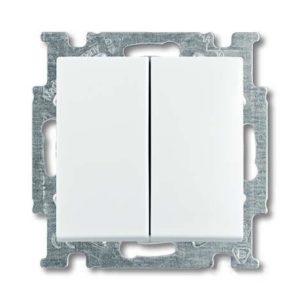 Выключатель двухклавишный ABB Basic 55, белый