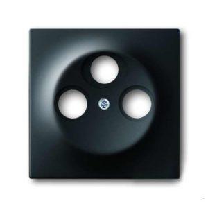 Розетка телевизионная оконечная ABB Impuls TV-SAT-FM, черный бархат