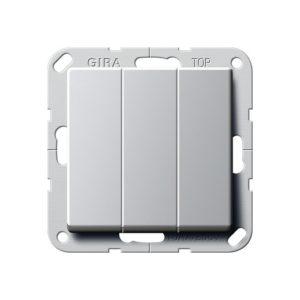 Выключатель трехклавишный Gira, алюминий
