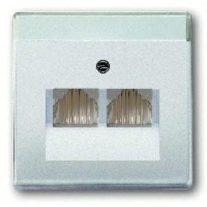 Розетка телефонная двойная ABB Pure сталь RJ11
