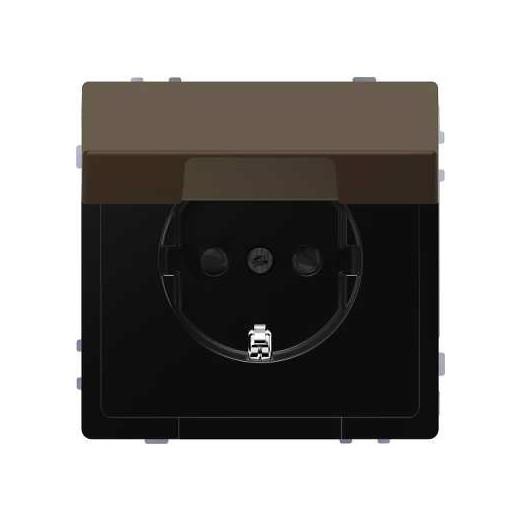 Розетка с заземлением с защитными шторками и крышкой Merten D-life 16А/250В, безвинтовые зажимы, мокко металл
