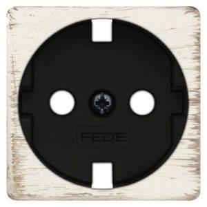 Розетка с заземлением Fede 10-16А/250В, винтовой зажим (белый декапо/черный)