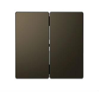 Выключатель двухклавишный проходной Merten D-life (вкл/выкл с 2-х мест) 10А/250В, мокко металл