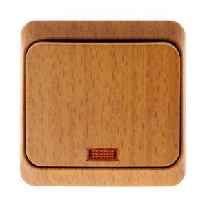 Выключатель одноклавишный с подсветкой открытой установки Schneider Electric Этюд, цвет бук
