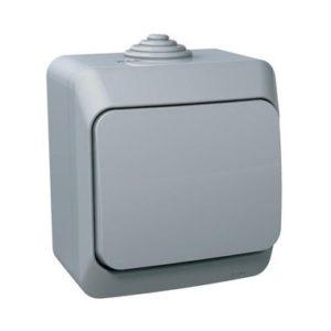 Выключатель одноклавишный IP44 открытой установки Schneider Electric Этюд, цвет серый