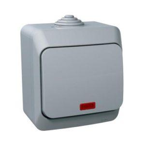 Выключатель одноклавишный с подсветкой IP44 открытой установки Schneider Electric Этюд, цвет серый