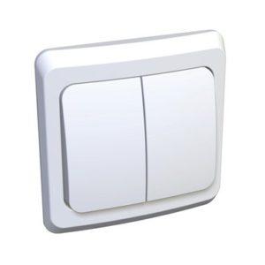 Выключатель двухклавишный скрытой установки Schneider Electric Этюд, цвет белый