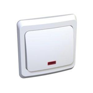 Выключатель одноклавишный с подсветкой скрытой установки Schneider Electric Этюд, цвет белый