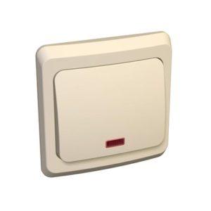 Выключатель одноклавишный с подсветкой скрытой установки Schneider Electric Этюд, цвет кремовый
