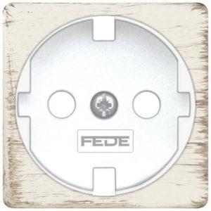 Розетка с заземлением Fede 10-16А/250В, винтовой зажим (белый декапо/белый)