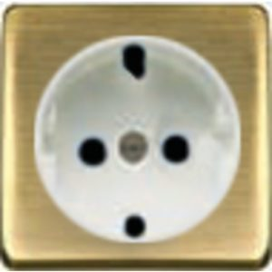 Розетка с заземлением Fede 10-16А/250В, винтовой зажим (бронза матовая/белая)