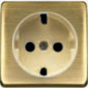 Розетка с заземлением Fede 10-16А/250В, винтовой зажим (бронза матовая/бежевый)