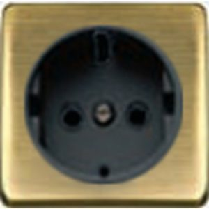 Розетка с заземлением Fede 10-16А/250В, винтовой зажим (бронза матовая/черный)
