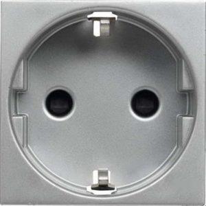Розетка с заземлением с безвинтовыми контактами со шторками ABB Niessen Zenit 16А (серебристый)
