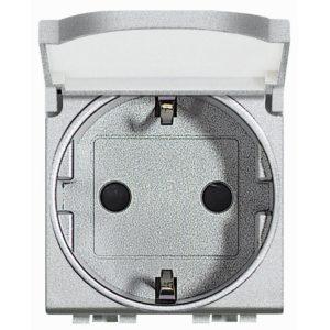 Розетка 10/16 А 250 В заземляющими контактами Schuko, с защитной крышкой с автоматическими клеммами с суппортом, LivingLight 2 модуля