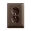 Моноблок из двух розеток с заземлением со шторками с безвинтовыми зажимами ABB Basic 55, шато-черный