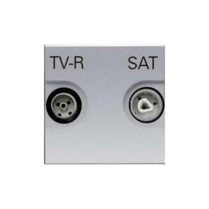 Телевизионная розетка TV-R/SAT звезда ABB Niessen Zenit (серебристый)