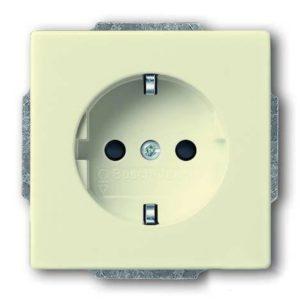 Розетка электрическая с защитными шторками ABB, безвинтовые клеммы (слоновая кость)