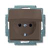 Розетка с заземлением с крышкой с безвинтовыми зажимами ABB Basic 55, шато-черный