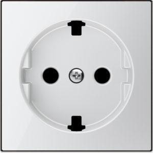 Розетка с заземлением со шторками плоская с винтовыми клеммами ABB Sky, белое стекло