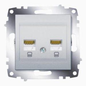 Розетка компьютерная 2-ая rj 45 6 кат. ABB Cosmo алюминий