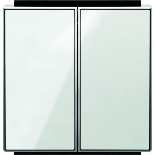 Выключатель двухклавишный ABB Sky, 10 А, белое стекло