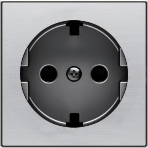 Розетка с заземлением со шторками с безвинтовыми клеммами ABB Sky, нержавеющая сталь