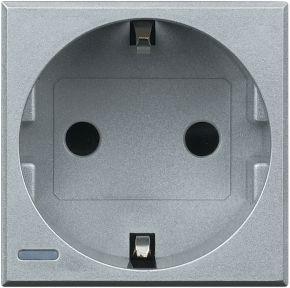 Розетка Axolute 2К+З, 10/16 А 250 В с заземляющими контактами Schuko, с защитными шторками, 2 модуля