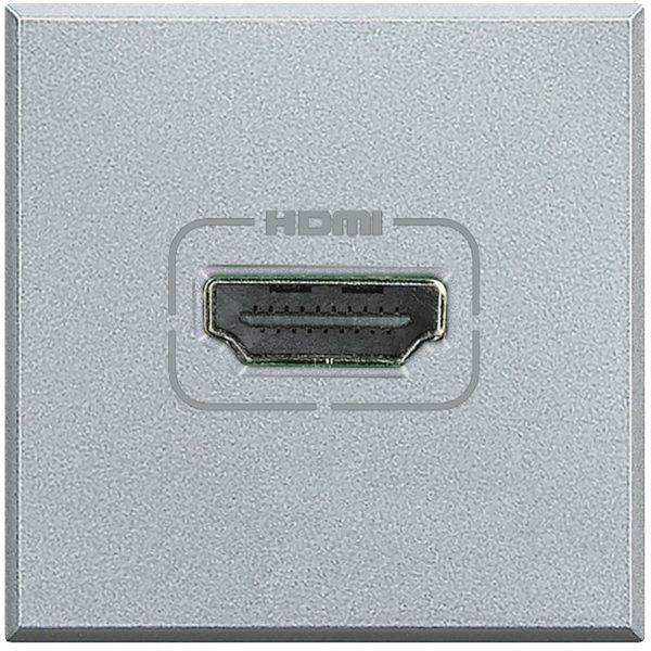 Разъем HDMI, винтовое подключение кабеля, Axolute алюминий 2 модуля