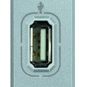Разъем USB для передачи данных, винтовое подключение кабеля, Axolute алюминий 1 модуль