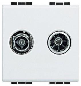 Розетка оконечная TV-R, Axolute белый 2 модуля