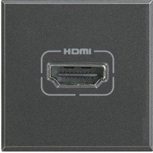 Разъем HDMI, винтовое подключение кабеля, Axolute антрацит 2 модуля
