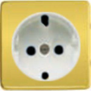 Розетка с заземлением Fede 10-16А/250В, винтовой зажим (красное золото/белый)