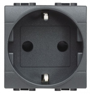 Розетка LivingLight 2К+З, 10/16 А 250 В с заземляющими контактами Schuko,клеммы с автоматическим зажимом, с защитными шторками, 2 модуля