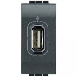 USB розетка 5B= 750 мА для зарядки, 230 В~, антрацит 1 модуль