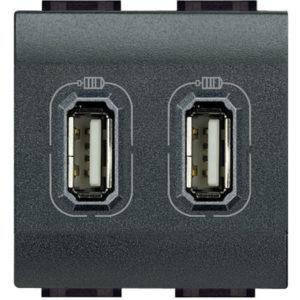 USB розетка двойная 1500 мА для зарядки, 230 В~, Axolute антрацит 2 модуля