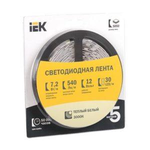 Лента LED 5м блистер LSR-3528W-WW120-9,6-IP20-12V теплый + холодный белый цвет ИЭК