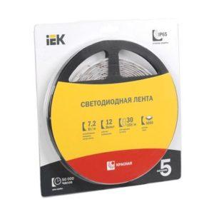 Лента LED 5м блистер LSR-5050R30-7,2-IP20-12V красный цвет ИЭК