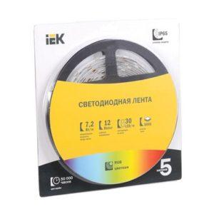 Лента LED 5м блистер LSR-5050RGB30-7,2-IP20-12V полноцветная ИЭК
