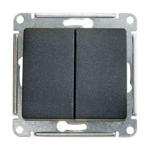 Механизм выключателя двухклавишный Schneider Electric GLOSSA, цвет антрацит