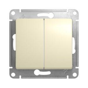 Механизм выключателя двухклавишный Schneider Electric GLOSSA, цвет бежевый