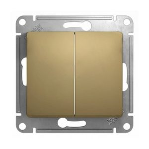 Механизм выключателя двухклавишный Schneider Electric GLOSSA, цвет титан