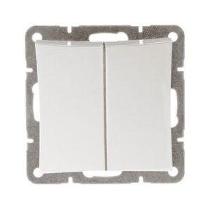 Механизм выключателя двухклавишный с подсветкой Schneider ДУЭТ, цвет белый