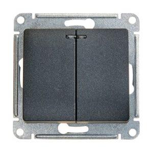 Механизм выключателя двухклавишный с подсветкой Schneider Electric GLOSSA, цвет антрацит