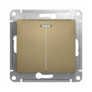 Механизм выключателя двухклавишный с подсветкой Schneider Electric GLOSSA, цвет титан