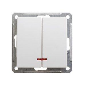 Механизм выключателя двухклавишный с подсветкой Schneider Electric W59, цвет белый