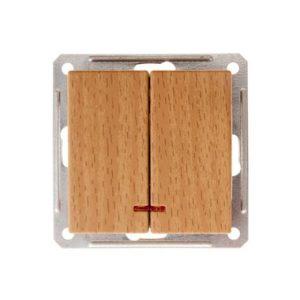 Механизм выключателя двухклавишный с подсветкой Schneider Electric W59, цвет бук