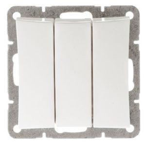 Механизм выключателя трехклавишный Schneider ДУЭТ, цвет белый