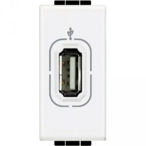 Разъем USB для передачи данных, винтовое подключение кабеля, LivingLight белый 1 модуль