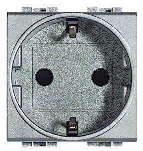 Розетка LivingLight 2К+З, 10/16 А 250 В с заземляющими контактами Schuko, с защитными шторками, 2 модуля
